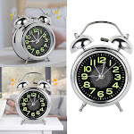 Willstar New Retro Loud Double Bell Mechanical Key Wound Alarm Clock silver