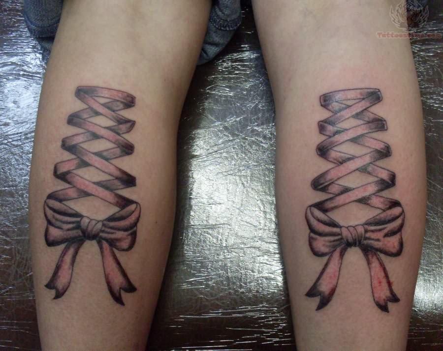 Green Corset Ribbon Tattoos On Back Legs