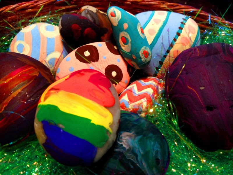 Painted Easter Egg Rocks - A Kids Craft