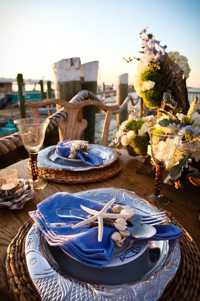 Stunning nautical inspired table setting. Wedding reception nautical themed shoot.