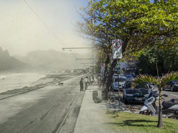 Retrato da Lagoa Rodrigo de Freitas nos dias de hoje e antigamente (Foto: Augusto Malta / Marcello Cavalcanti)