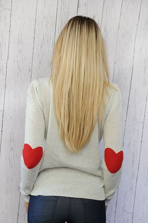 Heart Elbow Patch Sweater I MEDIUM - Follow me!
