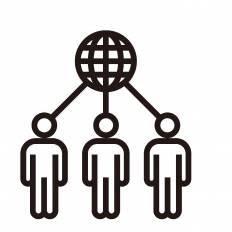 繋がる3人シルエット イラストの無料ダウンロードサイトシルエットac