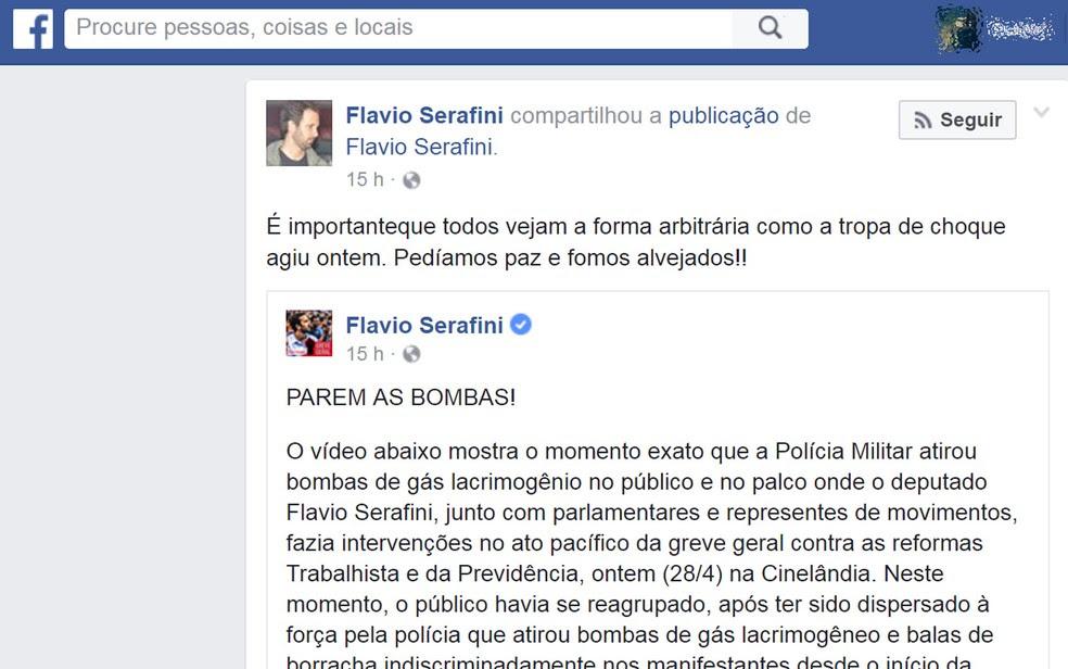 Deputado Flavio Serafini afirmou que ação da PM foi 'arbitrária' (Foto: Reprodução/Facebook)