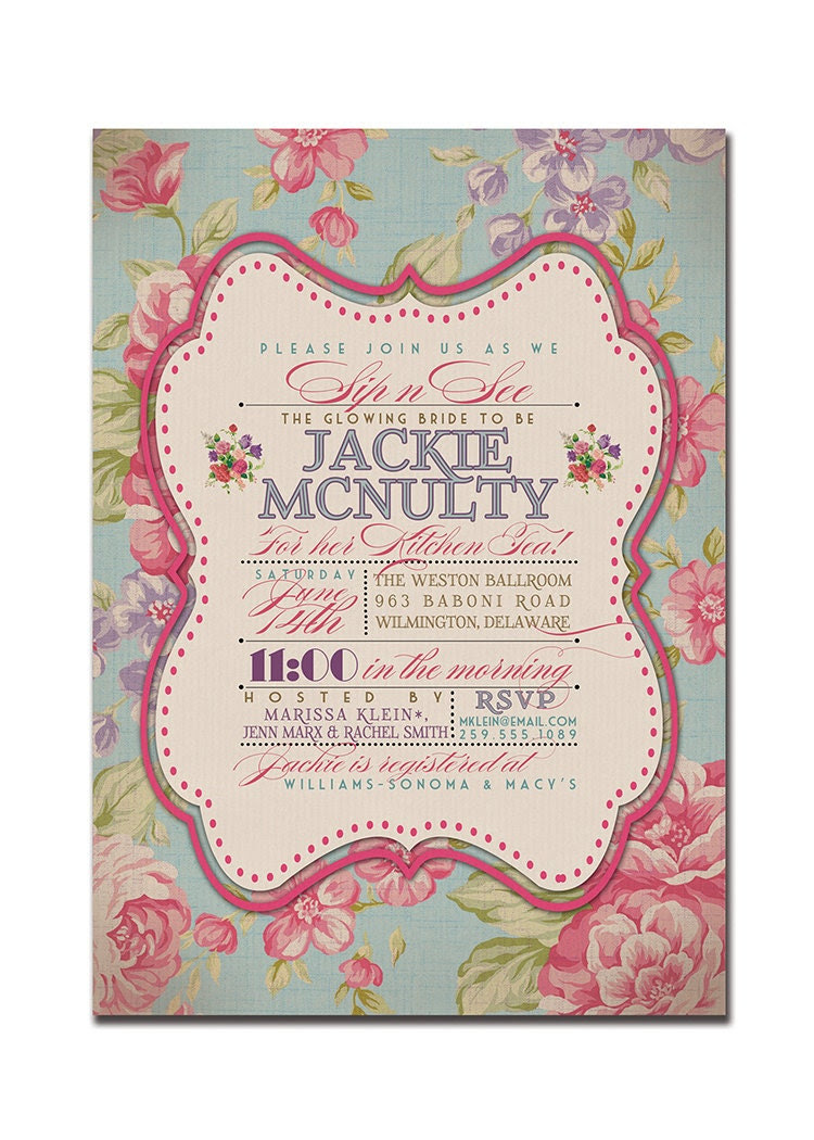 Kitchen Tea Bridal Shower Invitation Rustic Wedding Invitation