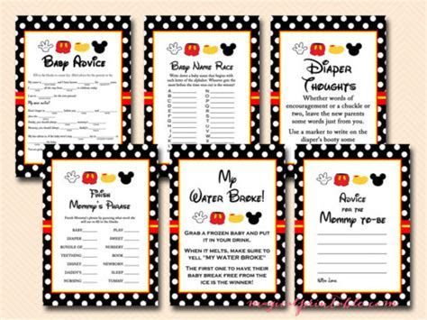 Mickey Mouse Baby Shower Games Pack   Magical Printable