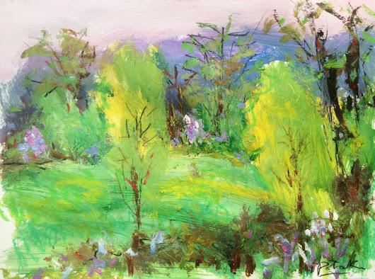 Expressive Impressionist Landscape, Spring Meadows (2017) Acrylic painting by Russ  Potak