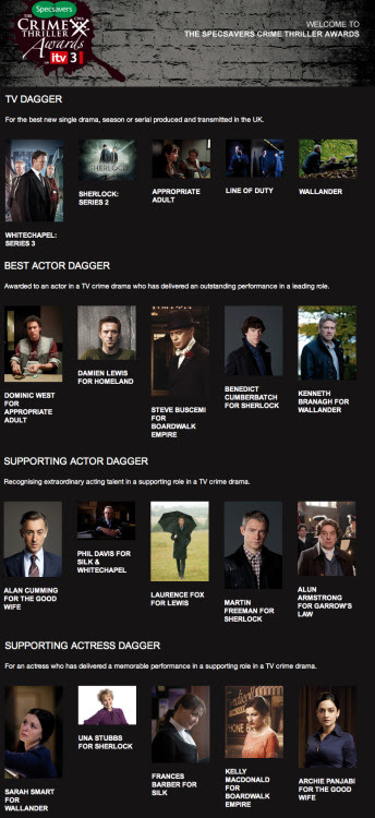 FOUR NOMINATIONS FOR THE SHERLOCK TEAM AT THE SPECSAVERS CRIME THRILLER AWARDS 2012 TV Dagger: Sherlock - Series 2Best Actor Dagger: Benedict Cumberbatchfor SherlockSupporting Actor Dagger: Martin Freemanfor SherlockSupporting Actress Dagger: Una Stubbs for Sherlock Now entering their fifth successful year in partnership with ITV3 and Specsavers, the Crime Thriller Awards (in association with the Crime Writers' Association) are set for another seven-week season of ITV3 crime and drama programming, culminating in the Specsavers Crime Thriller Awards – a glittering occasion at London's Grosvenor House – which is televised as the finale of the seven week season.The crime thriller season on ITV3 this year – Crime Connections – revisits over 30 of Britain's best known crime thriller television series, as well as featuring interviews with some of the nation's favourite authors. Watch the season on ITV3 from September and the awards in October.