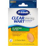 Dr. Scholl's Clear Away Wart Remover Pads Plantar for Feet, 24 Count