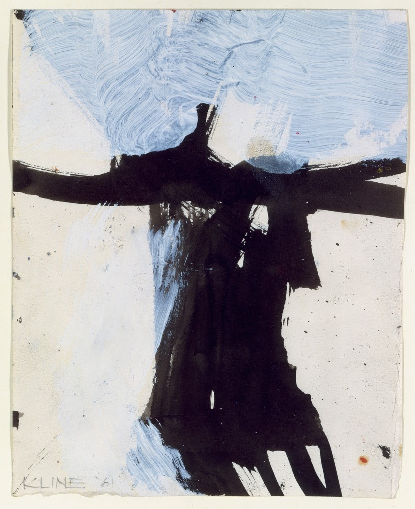 "Franz Kline, Study for ""Flanders,"" 1961, Ink and oil on paper, 9 x 7-1/8 inches/"