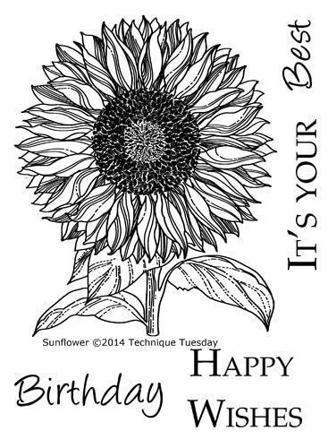 Sunflower Stamps   Rubber Stamps Flowers   Technique Tuesday