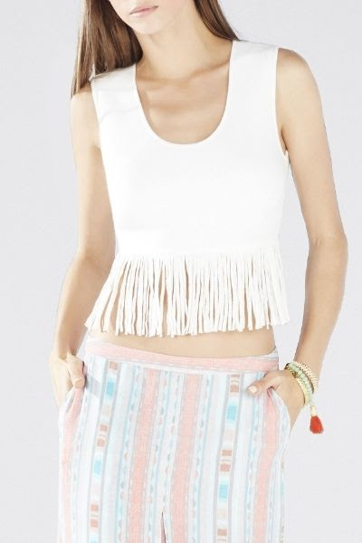BCBGMAXAZRIA Jaleigh Fringe Crop Top
