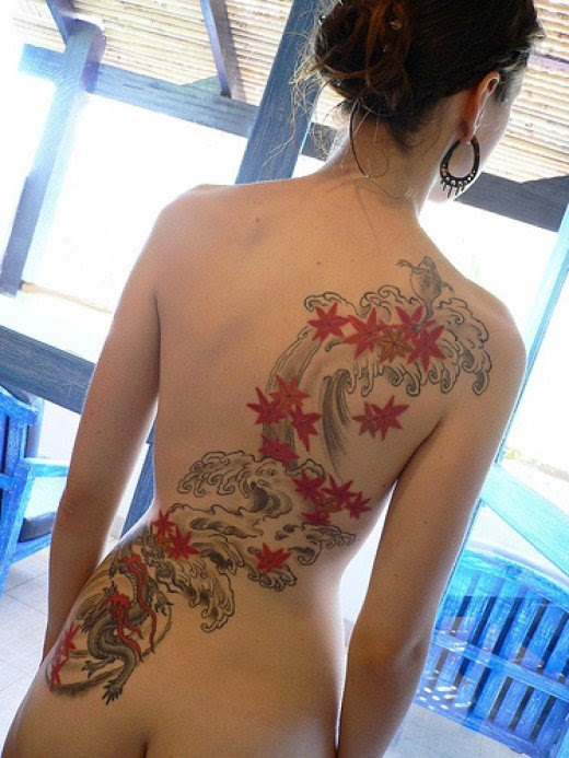 japanese tattoo on back body for sexy girl with colorfull