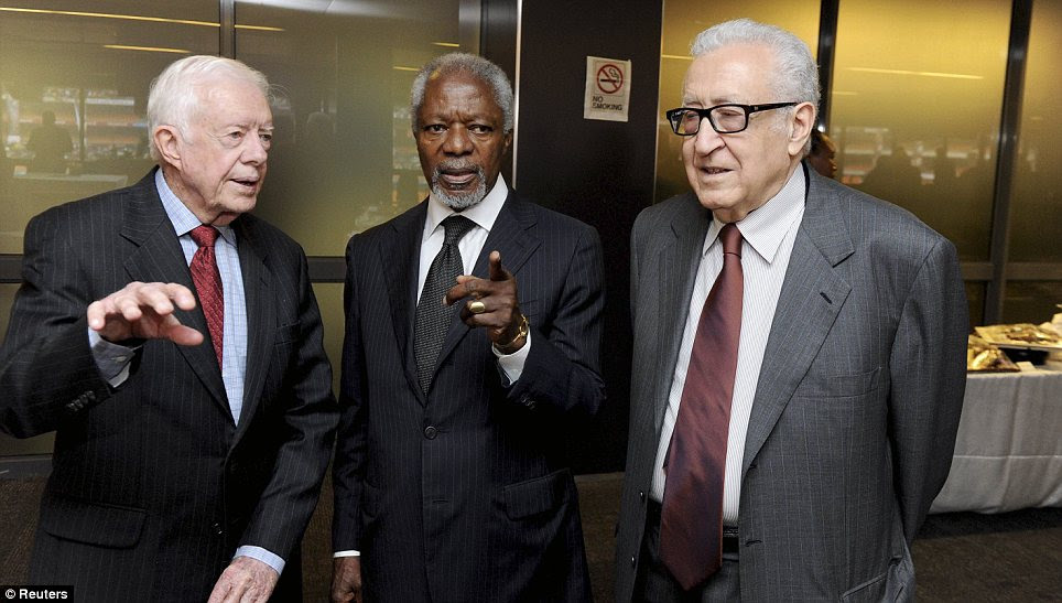 Associates: Jimmy Carter, Kofi Annan and Henry Kissinger arrived at the memorial service together