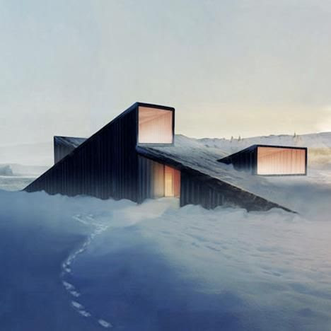 """Norwegian architects of """"Fantastic Norway"""" work on this """"Mountain Hill Cabin"""" which is supposed to be erected in the mountain landscape of Sjoga (Norway) during summer 2013. It's not only beautiful; you can also ski over its sloping roof!"""