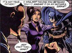 Talia al Ghul tries to break things up between her father and Batman.