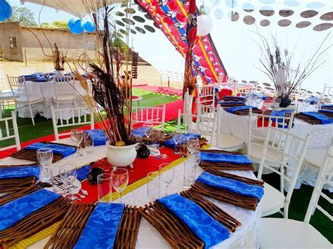 Siswati Blue & Red Traditional wedding decor @ShongaEvents