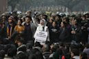 A demonstrator shouts slogans during a protest rally in New Delhi
