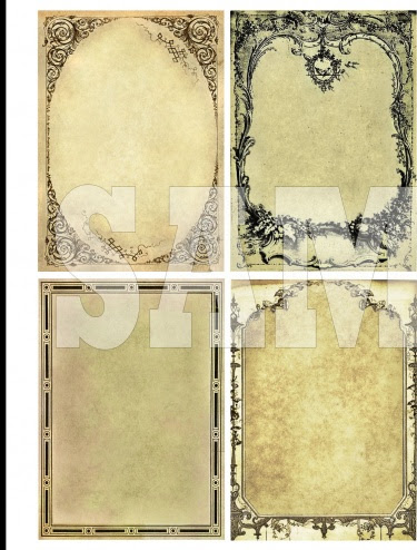 Vintage Victorian Frames Digital Collage Vol 1 Atc Aceo Background
