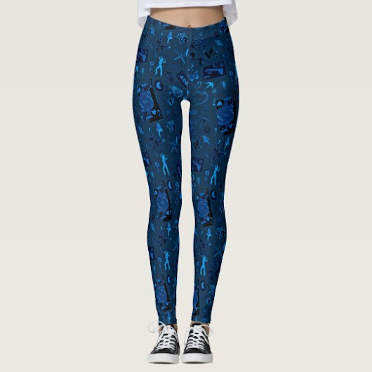 Lil Bit of This and That in Blue by Julie Everhart Leggings