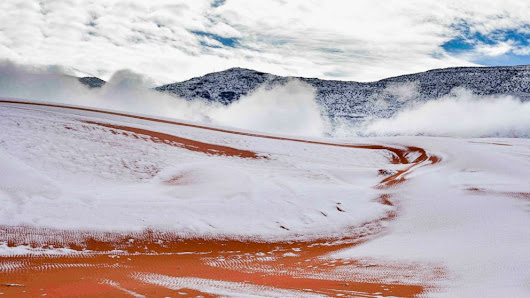 Rare snowfall hits the Sahara Desert