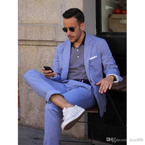 summer casual mens suits blue linen suits notched