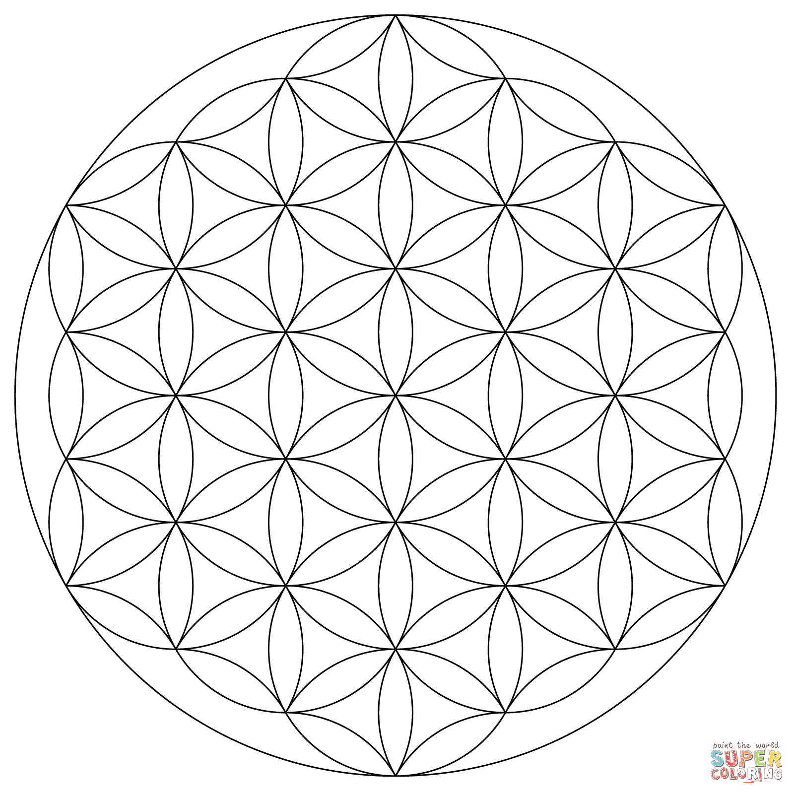 Dibujo De Mandala Flor De La Vida Para Colorear Dibujos Para