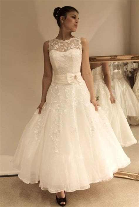 Vintage Ankle Length A line Cheap Wedding Dress with Lace