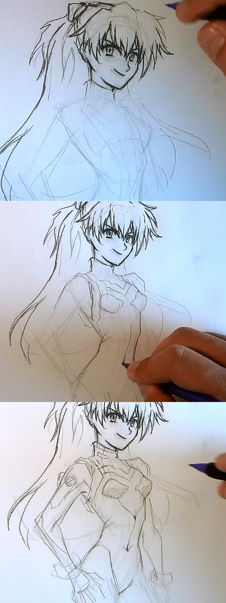 draw anime girl Asuka step 3