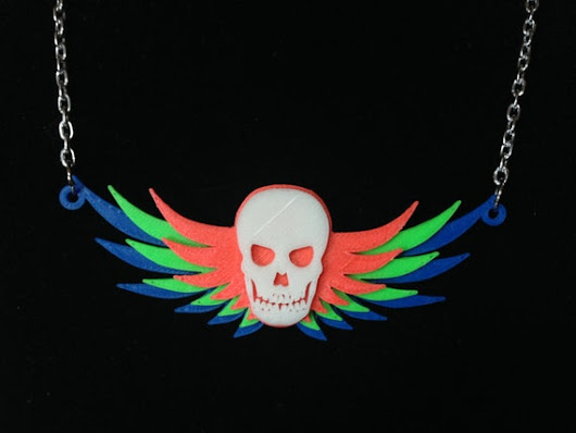 3D Printed Glow-in-the-Dark Winged Skull Necklace by KitCameo