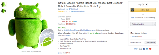 ThinkGeek's Android Plush Doll Just $5.99 From Amazon (That's $4 Off)