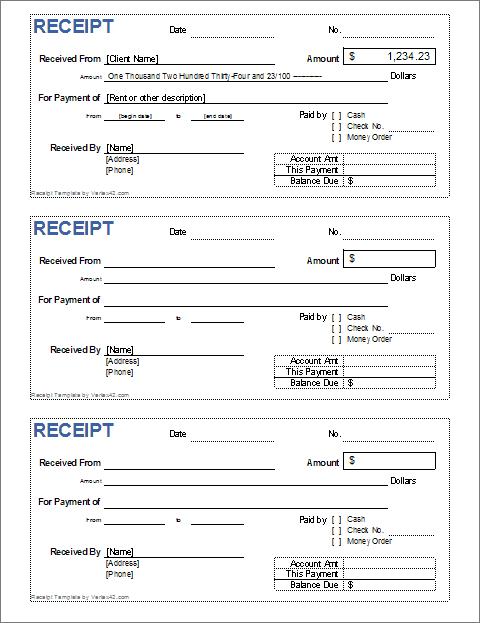 Cash Receipt Template for Excel