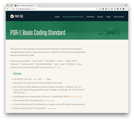 Basic Coding Standards via PSR-1 | Tom McFarlin
