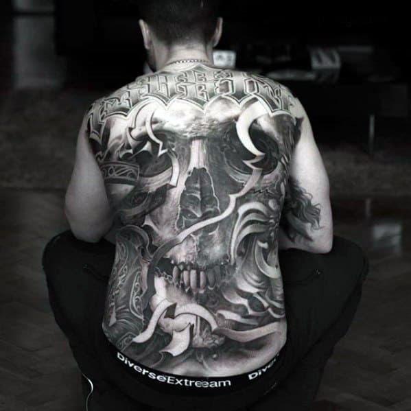 40 Skull Back Tattoo Designs For Men Masculine Ink Ideas