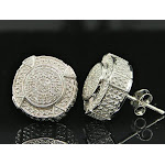 Mens Diamond 3D Circle Earrings .925 Sterling Silver Round Pave Studs 1/4 ct.