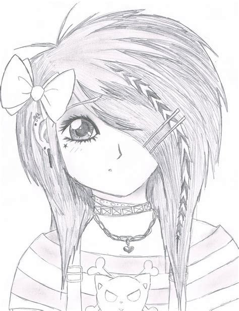 easy anime drawings emo scene gurl  kattify