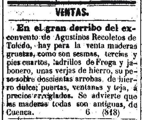 Anuncio de venta de materiales procedentes del derribo del Convento de Agustinos Recoletos. Diario oficial de avisos de Madrid. 10 de septiembre de 1859