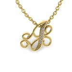 SuperJeweler J Initial Necklace in Yellow Gold with 6 Diamonds