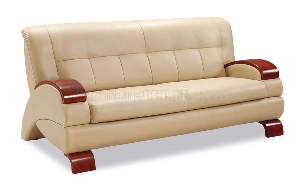 Beige Leather Modern Living Room W/Cherry Wooden Arms
