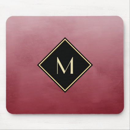 Elegant Brushed Red With Simple Gold Monogram Mouse Pad