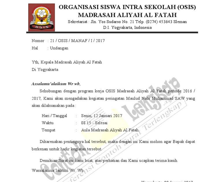 Osis Undangan Resmi Contoh Surat Dinas