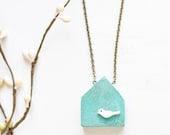 Wood house necklace with shell bird - blue wooden house pendant - patina - mint - CvetCvet
