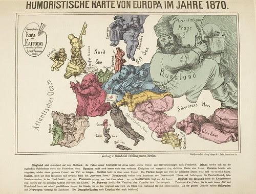 Humortische Karte von Europa im Jahre 1870