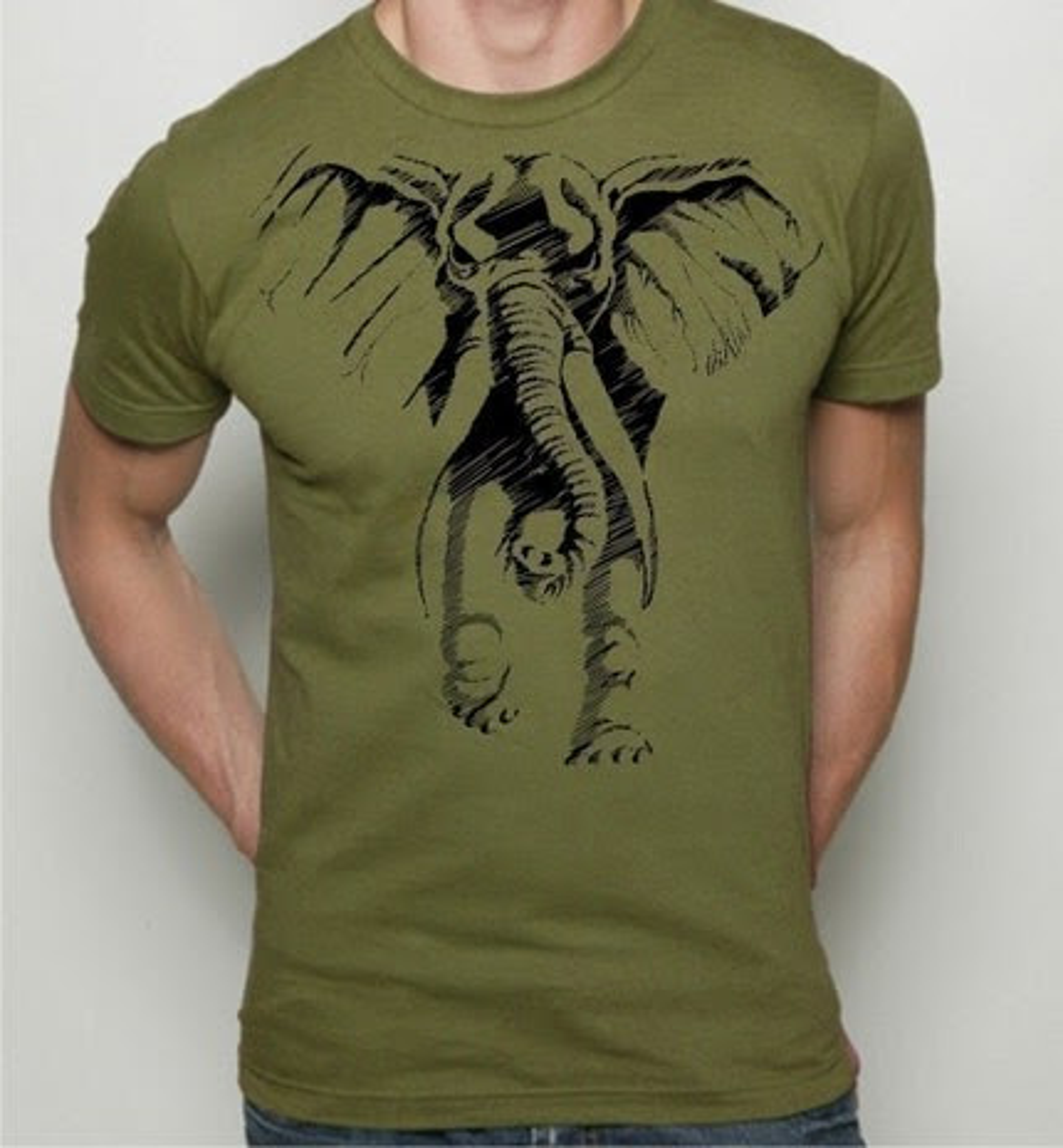 Ghost Elephant on MENS American Apparel tshirt - S,M,L,XL,XXL