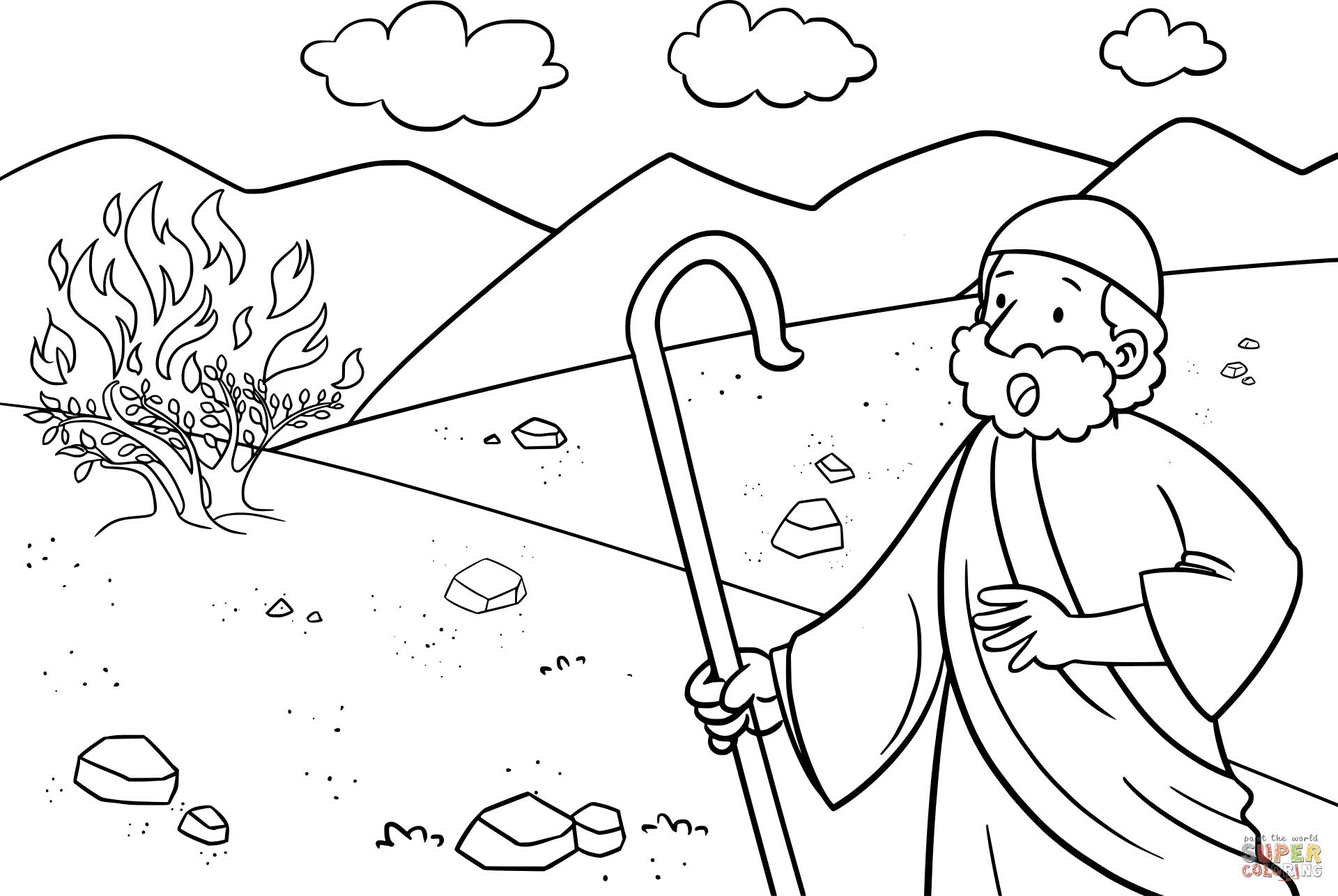 Moses & the Burning Bush coloring page   Free Printable ...