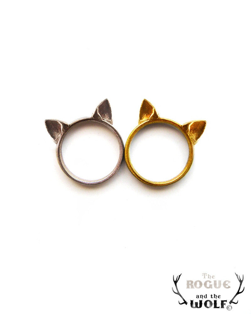 Cat Ears Ring, cute cat ring, kawaii ring, animal fashion ring, neko ears ring, for the sweet girlfriend, for the special cat lover friend - TheRogueAndTheWolf