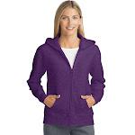 Hanes O4637 ComfortSoft EcoSmart Women's Full-Zip Hoodie Sweatshirt - Violet Splendor Heather