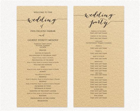 Wedding Program Template, Wedding Program Cards