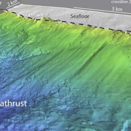 Perspective view of the shallow megathrust looking seaward towards the trench; the frontal prism has...