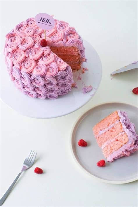 Purple & Pink Ombre Rose Cake, Butter Cream Rose Cake For